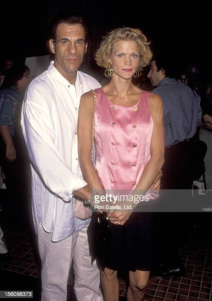 Actor Robert Davi and wife Christine Bolster attend 'The Son of the Pink Panther' Westwood Premiere on August 26 1993 at Avco Center Cinemas in...