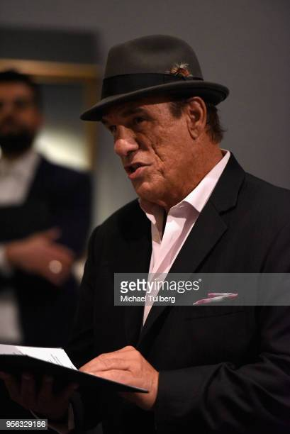Actor Robert Davi recites poet Gabriele Tinti's poetry at BritWeek at The Getty Villa on May 8 2018 in Pacific Palisades California