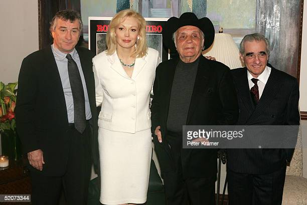 Actor Robert De Niro actor Cathy Moriarty boxer Jake LaMotta and director Martin Scorsese attend a special screening of 'Raging Bull' to celebrate...