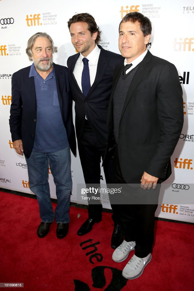 Actor Robert De Niro, Actor/ Executive Producer Bradley Cooper and Filmmaker David O. Russell attend the 'Silver Linings Playbook' premiere during the 2012 Toronto International Film Festiva at Roy Thomson Halll on September 8, 2012 in Toronto, Canada.