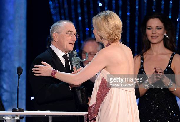 Actor Robert De Niro and actress Cate Blanchett speak onstage during 20th Annual Screen Actors Guild Awards at The Shrine Auditorium on January 18...
