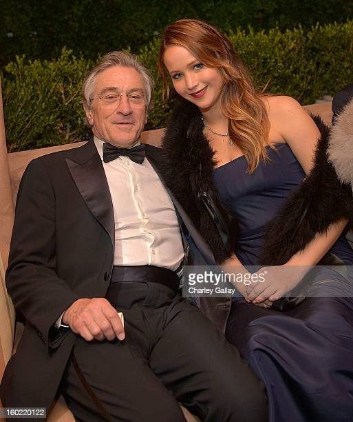 Actor Robert De Niro and actress Jennifer Lawrence attend The Weinstein Company's SAG Awards After Party Presented By FIJI Water at Sunset Tower on...