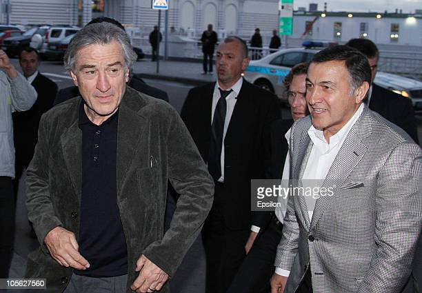 US actor Robert De Niro and businessman Aras Agalarov arrive to the Stone Russian Premiere in Luxor Vegas Cinema Hall on October 16 2010 in Moscow...