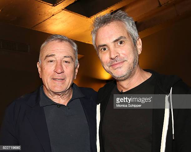 Actor Robert De Niro and director Alfonso Cuaron attend Tribeca Talks Directors Series Alfonso Cuaron at SVA Theatre 1 on April 20 2016 in New York...