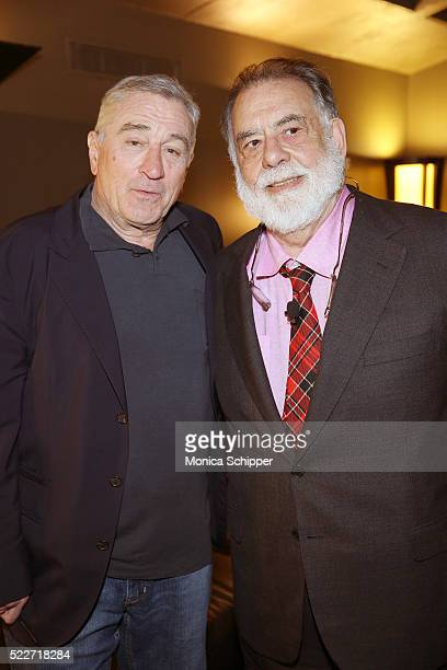 Actor Robert De Niro and director Francis Ford Coppola attend Tribeca Talks Storytellers Francis Ford Coppola With Jay McInerney at SVA Theatre 1 on...
