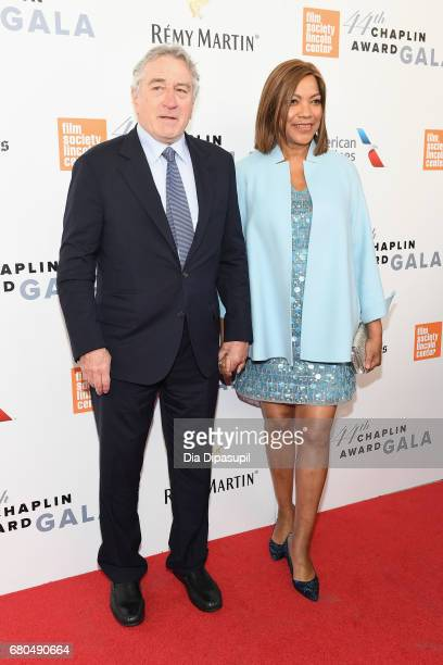 Actor Robert De Niro and Grace Hightower attend the 44th Chaplin Award Gala at David H Koch Theater at Lincoln Center on May 8 2017 in New York City