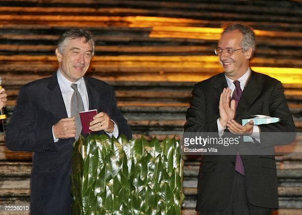 Actor Robert De Niro and Rome mayor Walter Veltroni attend the Steps And Stars Award in Piazza di Spagna as part of the Rome Film Festival on October...