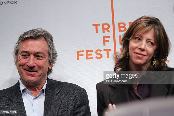 Actor Robert De Niro and Tribeca Film Festival CoFounder Jane Rosenthal attend the opening press conference to kick off the 4th Annual Tribeca Film...