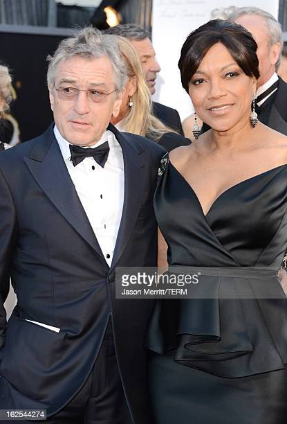 Actor Robert De Niro and wife Grace Hightower arrive at the Oscars at Hollywood Highland Center on February 24 2013 in Hollywood California