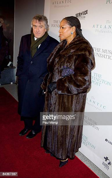 Actor Robert De Niro and wife Grace Hightower attend The Huffington Post preinaugural ball at the Newseum on January 19 2009 in Washington DC