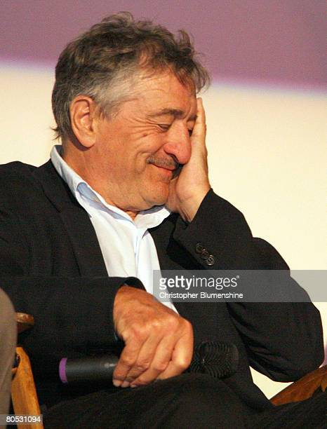 Actor Robert De Niro answers questions from the audience after AFI's Dallas centerpiece screening of the movie 'What Just Happened' at the Inwood...