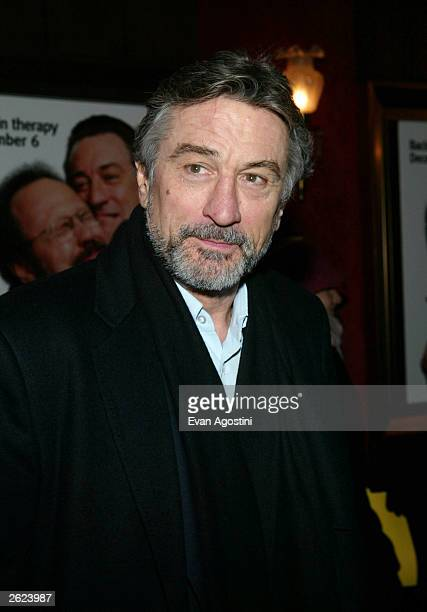 Actor Robert De Niro attends the 'Analyze That' world premiere at The Ziegfeld Theater December 2 2002 in New York City According to a spokesman De...