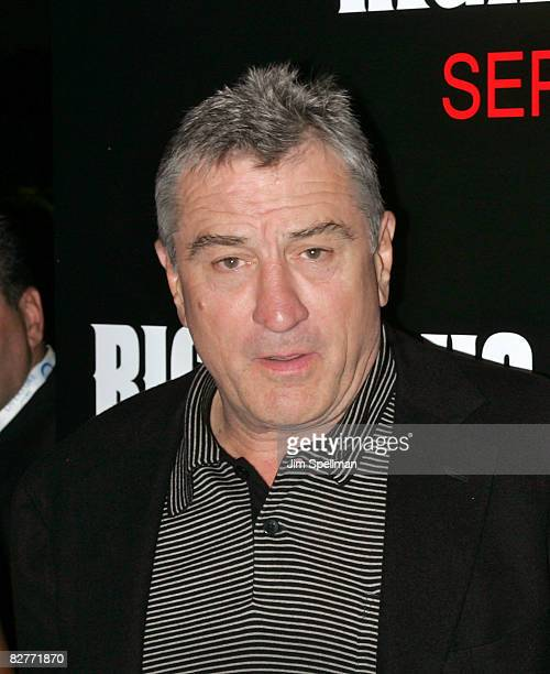 Actor Robert De Niro attends the New York premiere of 'Righteous Kill' at the Ziegfeld Theater on September 10 2008 in New York City