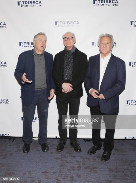 Actor Robert De Niro director Barry Levinson and actor Dustin Hoffman attend the 20th Anniversary screening of 'Wag The Dog' at 92nd Street Y on...