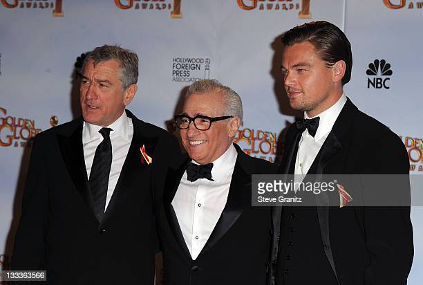 Actor Robert De Niro director Martin Scorsese and actor Leonardo DiCaprio pose in the press room at the 67th Annual Golden Globe Awards at The...