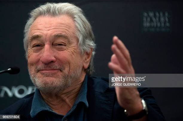 US actor Robert De Niro gives a press conference during the opening of the new Nobu Hotel Marbella on May 16 2018 in Marbella