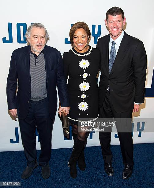 Actor Robert De Niro Grace Hightower and James Packer attend the 'Joy' New York Premiere at Ziegfeld Theater on December 13 2015 in New York City