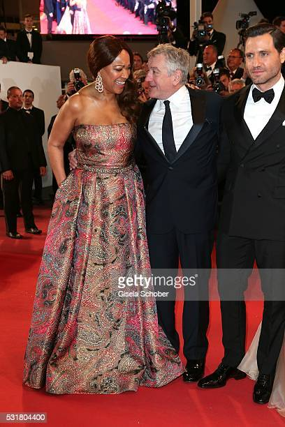 Actor Robert de Niro his wife Grace Hightower and Chris Pine attend the Hands Of Stone premiere during the 69th annual Cannes Film Festival at the...