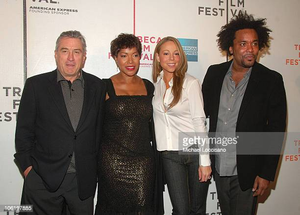 Actor Robert De Niro his wife Grace Hightower singer Mariah Carey and producer Lee Daniels attend the premiere of 'Tennessee' at the BMCCPPAC Theatre...