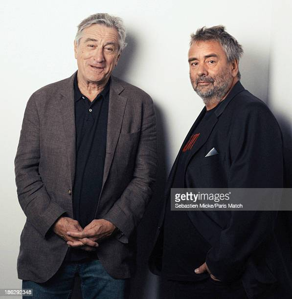 Actor Robert De Niro is photographed with film director Luc Besson for Paris Match on October 15 2013 in SaintDenis France