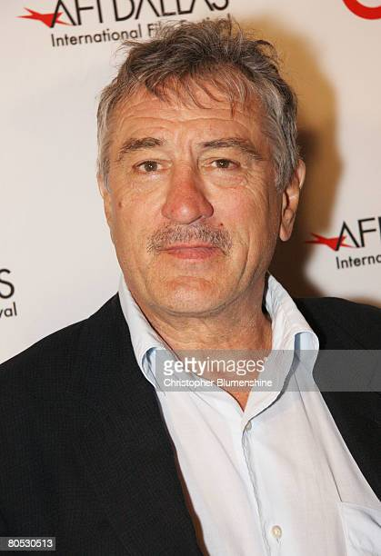 Actor Robert De Niro poses at AFI's Dallas centerpiece screening of the movie 'What Just Happened' at the Inwood Theatre April 4 2008 in Dallas Texas