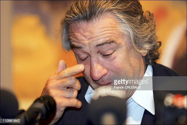 US actor Robert De Niro sheds tears at a press conference on the occasion of the opening of an exhibition of paintings by his father Robert Sr at La...
