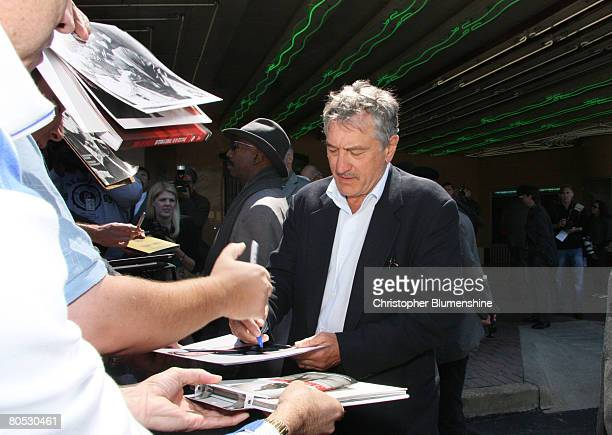 Actor Robert De Niro signs autographs at AFI's Dallas centerpiece screening of the movie 'What Just Happened' at the Inwood Theatre April 4 2008 in...