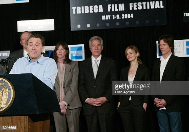 Actor Robert De Niro speaks at the 2004 Tribeca Film Festival kickoff media conference at Silver Cup Studios March 5 2004 in New York City