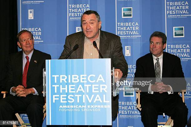 Actor Robert De Niro speaks during the press conference to announce the First Annual Tribeca Theater Festival at Tribeca Cinemas October 13 2004 in...
