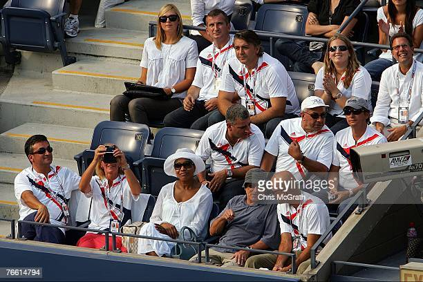 Actor Robert Di Nero his wife Grace Hightower and Tennis player Maria Sharapova sit in the box of Novak Djokovic of Serbia during his 2007 US Open...