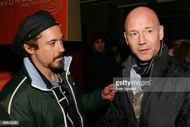 Actor Robert Downey and Graham Leggat executive director of San Francisco Film Society attend the Creative Coalition party for festival film A Guide...