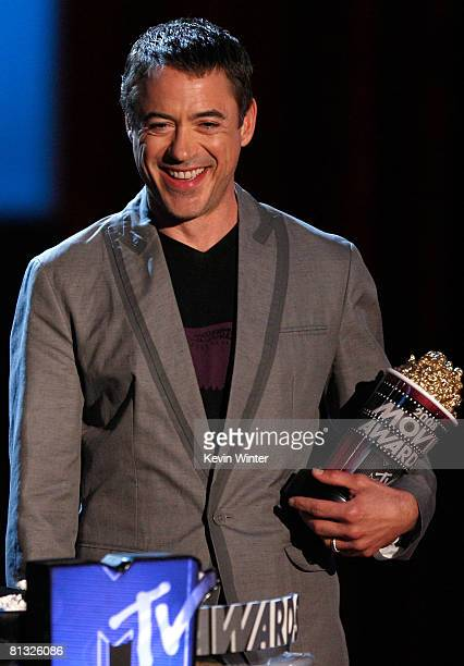 Actor Robert Downey Jr accept the award for Best Summer Movie So Far for 'Iron Man' during the 17th annual MTV Movie Awards held at the Gibson...