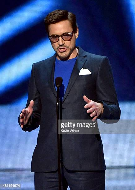 Actor Robert Downey Jr accepts the Favorite Movie Actor award onstage at The 41st Annual People's Choice Awards at Nokia Theatre LA Live on January 7...