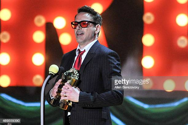 Actor Robert Downey Jr accepts the MTV Generation Award onstage during The 2015 MTV Movie Awards at Nokia Theatre LA Live on April 12 2015 in Los...