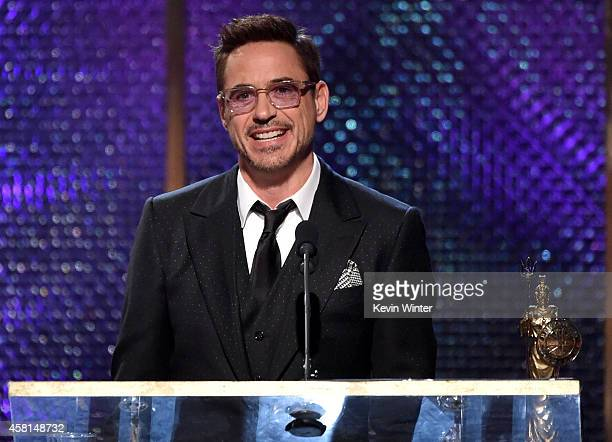 Actor Robert Downey Jr. Accepts the Stanley Kubrick Britannia Award for Excellence in Film onstage during the BAFTA Los Angeles Jaguar Britannia...