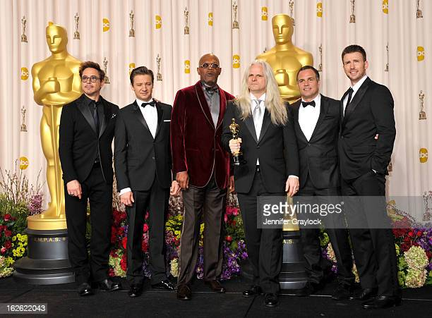 Actor Robert Downey Jr Actor Jeremy Renner actor Samuel L Jackson Claudio Miranda actor Mark Ruffalo and Actor Chris Evans in the press room during...