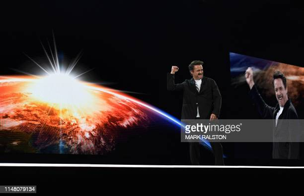 Actor Robert Downey Jr. Addresses the audience during the Amazon Re:MARS conference on robotics and artificial intelligence at the Aria Hotel in Las...