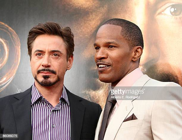 Actor Robert Downey Jr and actor Jamie Foxx arrive at the premiere of Dreamworks Pictures' The Soloist held at the Paramount Studios Theater on April...