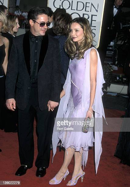 Actor Robert Downey Jr and actress Calista Flockhart attend the 58th Annual Golden Globe Awards on January 21 2001 at Beverly Hilton Hotel in Beverly...