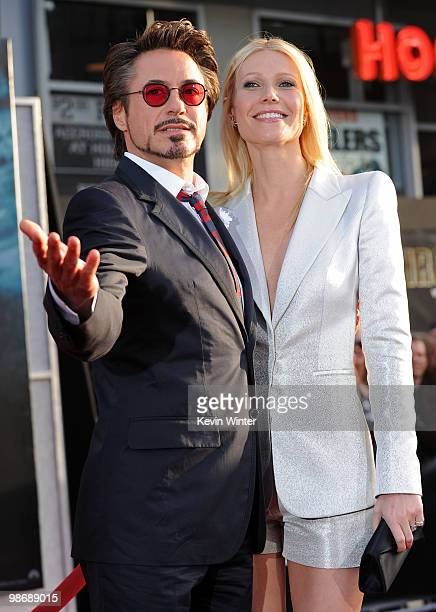 "Actor Robert Downey Jr. And actress Gwyneth Paltrow arrive at the world premiere of Paramount Pictures and Marvel Entertainment's ""Iron Man 2� held..."
