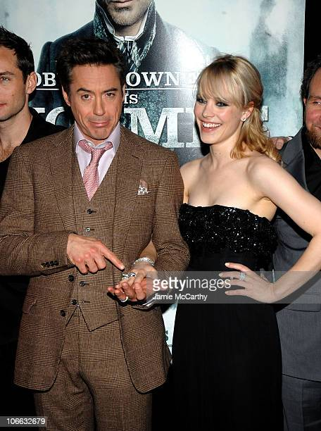 "Actor Robert Downey Jr. And Actress Rachel McAdams attend the New York premiere of ""Sherlock Holmes"" at the Alice Tully Hall, Lincoln Center on..."