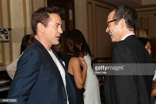 Actor Robert Downey Jr and CAA President Richard Lovett attend CAA's School Day Benefiting Communities In Schools of Los Angeles at Bouchon on...