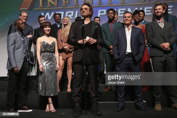 Actor Robert Downey Jr and cast crew of 'Avengers Infinity War' attend the Los Angeles Global Premiere for Marvel Studios' Avengers Infinity War on...