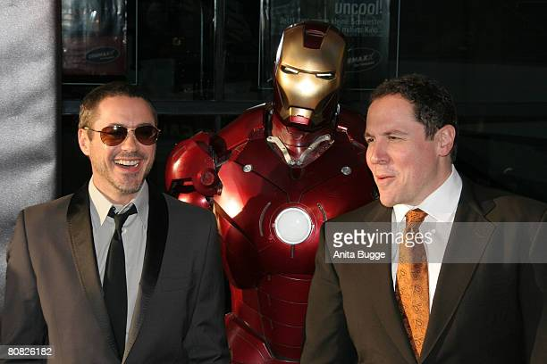 Actor Robert Downey Jr and Director Jon Favreau attend the premiere for the movie 'Iron Man' at the Cinemaxx on April 22 2008 in Berlin Germany