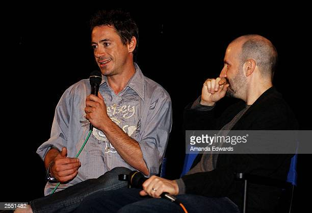 Actor Robert Downey Jr and director Keith Gordon attend a QA session following the Variety screening of The Singing Detective at The Egyptian on...