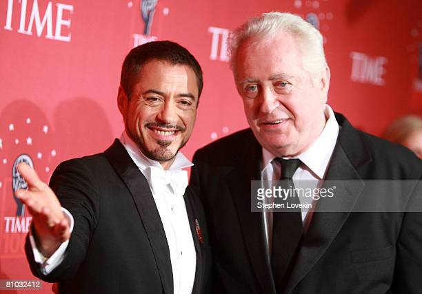 Actor Robert Downey Jr and father Robert Downey Sr arrive at TIME's 100 Most Influential People Gala at Frederick P Rose Hall on May 08 2008 in New...