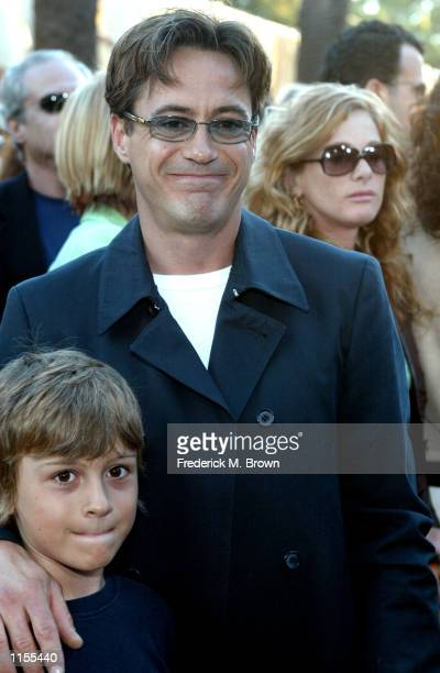 Actor Robert Downey Jr and his son attend the film premiere of Austin Powers in Goldmember on July 22 in Los Angeles California The film opens...