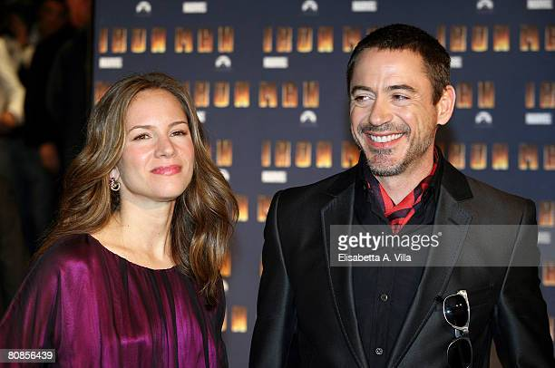 Actor Robert Downey Jr. And his wife Susan attend the 'Iron Man' premiere at Warner Moderno Cinema on April 23, 2008 in Rome, Italy.