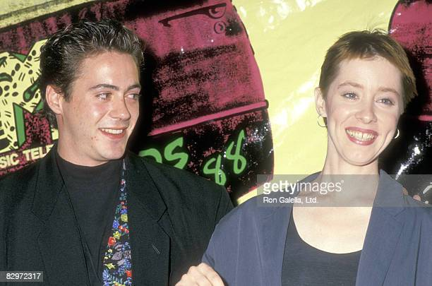 Actor Robert Downey Jr and Musician Suzanne Vega attend the Fifth Annual MTV Video Music Awards on September 7 1988 at Universal Amphitheatre in...