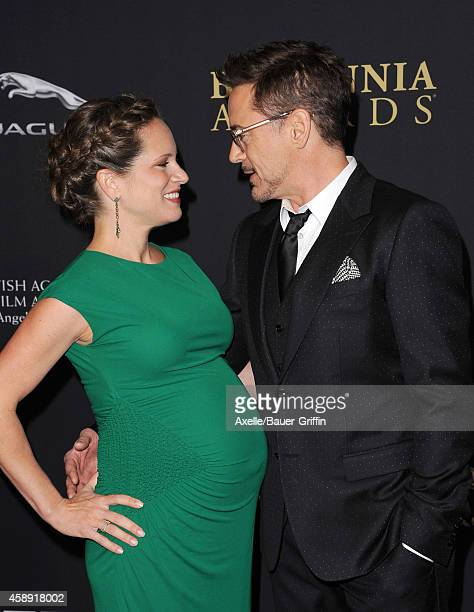 Actor Robert Downey Jr. And producer Susan Downey arrive at the BAFTA Los Angeles Jaguar Britannia Awards at The Beverly Hilton Hotel on October 30,...